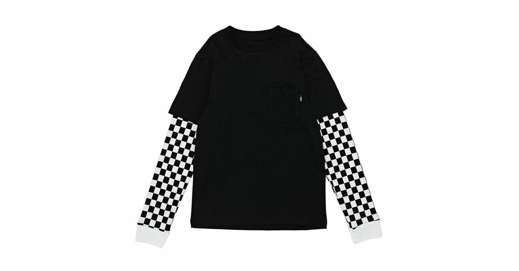 ac4796fc4ed455 Vans Checker Sleeve Two Fer hosszúujjú póló Black Checker