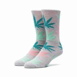 HUF Melange Plantlife Crew Zokni Heather Grey/Multi 1 pár