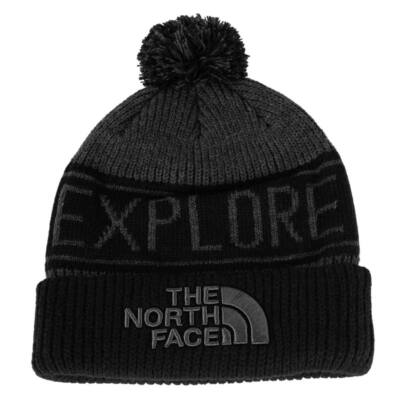 The North Face Retro TNF Pom téli sapka TNF Mdm Grey Hthr/TNF Black