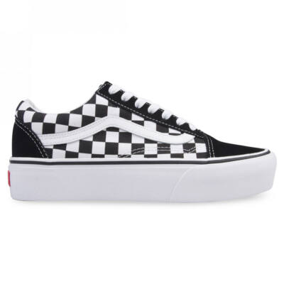 Vans Old Skool Platform cipő Checkerboard True White