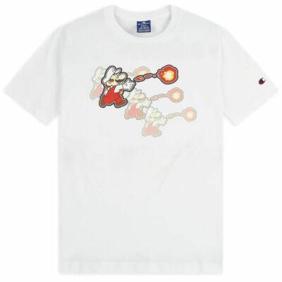 Champion X Super Mario Bros Fireballs póló WHT