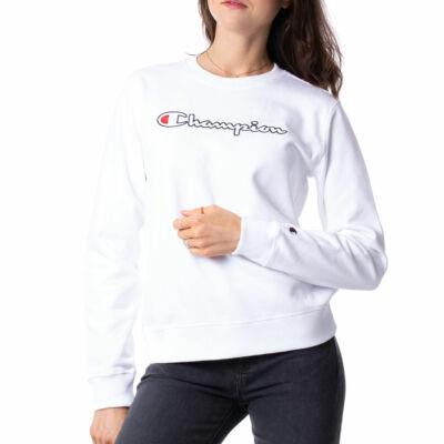 Champion Reverse Embroidered Logo Crew pulóver WHT