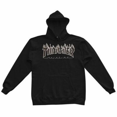 Thrasher Flame Logo kapucnis pulóver Black Black