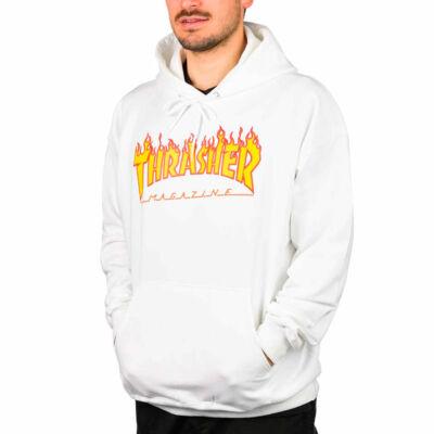 Thrasher Flame Logo kapucnis pulóver White