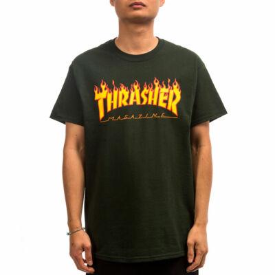 Thrasher Flame logó póló Forest Green
