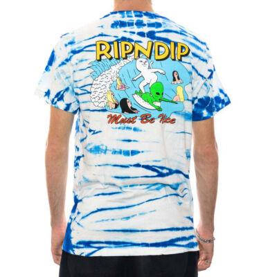 Ripndip Hang 10 póló Blue White Stripe Dye