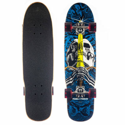 "Powell Peralta Mini Skull And Sword cruiser Blue 8.0""x30"""