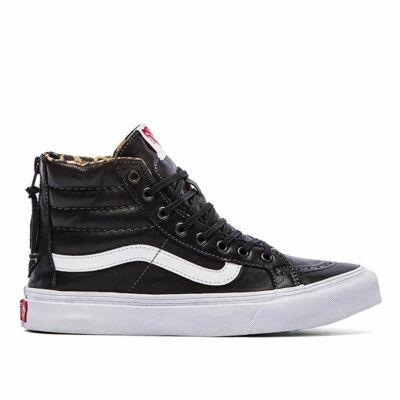 Vans Sk8-Hi Slim Zip (Leather) cipő Black/Leopard