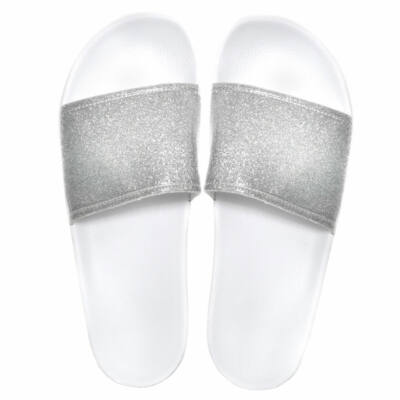 Slydes Champagne Glitter Papucs Silver