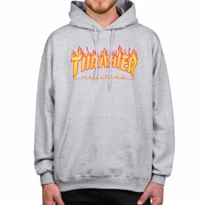 Thrasher Flame kapucnis pulóver Grey Mottled