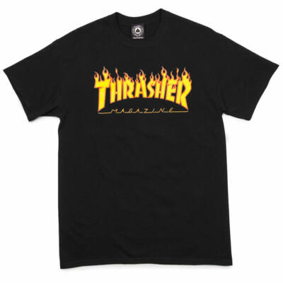 Thrasher Flame póló Black