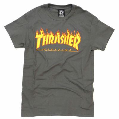 Thrasher Flame póló Charcoal