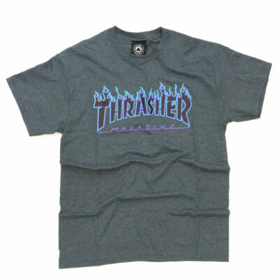Thrasher Flame póló Dark Heather