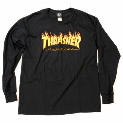 Thrasher Flame LS póló Black