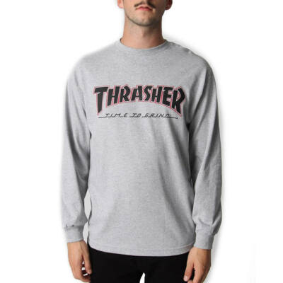 Thrasher X Independent Time To Grind ls póló Athletic Heather