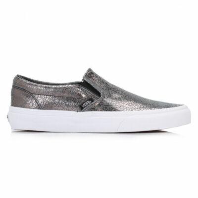 Vans Classic Slip-On (Cracked Metallic) cipő Gunmetal/True White